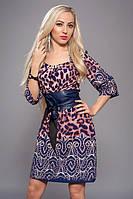 Стильное женское платье с поясом 52р