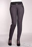 """Молодежные женские брюки """"Рио"""".Ткань трикотаж серая мелкая клетка+бордо."""