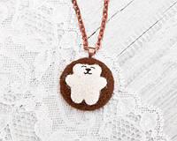 Кулон ручной работы Медведь белый большой на коричневом войлоке