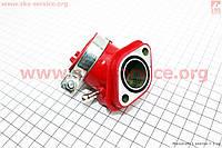 Патрубок карбюратора КРАСНЫЙ для китайских скутеров 150 кубов.