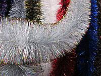 Мишура новогодняя, дождик серебристый с золотом, диаметр 15 см, длина - 3 метра