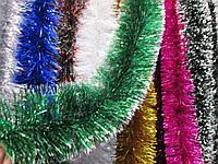 Мишура новогодняя, дождик зеленый с белыми перышками, диаметр -  15 см, длина - 3 метра