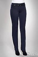 """Молодежные женские прямые брюки""""Норд"""" синего цвета."""