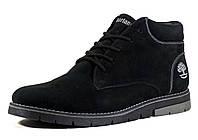 Зимние мужские ботинки нубук черные на меху, фото 1