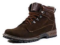 Коричневые зимние мужские ботинки нубук на меху, фото 1