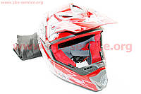 Шлем кроссовый для мотоцикла или велосипеда HS-117 S 55-56 красный
