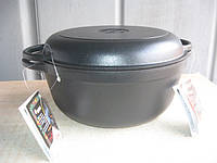 Кастрюля  чугунная эмалированная с крышкой сковородой. Матово-чёрная. Объем 5,5 литра.