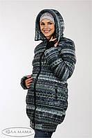 """Теплая зимняя слинго-куртка+беременность """"Lorans"""" из плащевки лаке на силиконе, принт вязка 1"""
