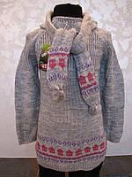 Туника вязанная с гетрами и шарфиком для девочек Домики