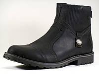 Зимние высокие ботинки молния кожаные черные отделка мех, фото 1