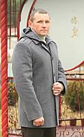 "Мужское пальто "" Манишка-капюшон серый """