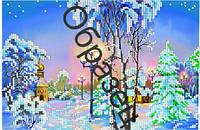 Схема для вышивки бисером  «Пейзаж Зима»
