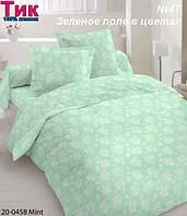 Ткань Тик наперник - Зеленое поле в цветах (M)