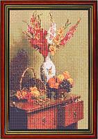 Схема для вышивки бисером «Цветы в белой вазе на тумбочке»