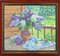 Схема для вышивки бисером «Цветы сирени в вазе»