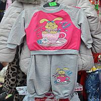 Нарядный костюмчик для девочек от 2 до 5 лет, двойка  - зайчик в кружке