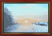 Схема для вышивки бисером «Зима в деревне»