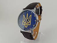 Часы с Гербом Украины серебристые, синий циферблат, черный ремешок.