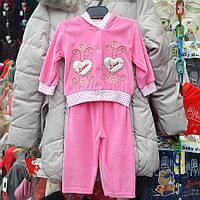 Нарядный костюмчик для девочек на 1 годик, двойка  - сердечки