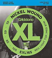 Струны для бас-гитары D'Addario EXL165 Nickel Wound Bass Guitar Strings 45-105