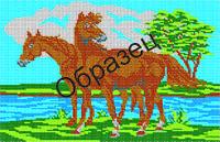 """Схема для вышивки бисером """"Лошади"""""""