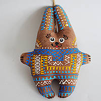 Кофейный зайчик желто-голубой. Украинский сувенир.