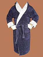 Халат мужской махровый (TM Rojin) темно-синий с серым