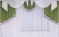 Ламбрикен шифоновый для спальни Аурика Зеленый