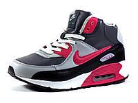 Кроссовки Nike Air Max зимние серые/розовые унисекс на меху кожаные, р. 36 37 38 39 40 41