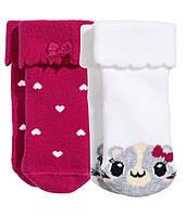 Махровые носочки для девочки (2 пары). 0-3 месяца