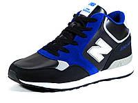 Мужские черные зимние кроссовки синяя отделка на меху реплика New Balance, фото 1