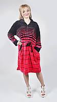 Женский халат велюровый длинный - полоски