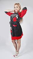 Молодёжный женский халат велюровый длинный - мишка