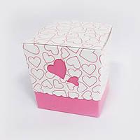 Картонная упаковка для чашки (Розовое сердце)