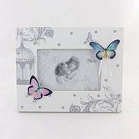 Фоторамка белая с бабочками
