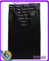 Комплект накладных прядей из 7-ми штук, наращивание волос, накладные пряди, прямые, длина - 55 см, цвет - №1