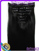Комплект накладных прядей из 7-ми штук, наращивание волос, накладные пряди, прямые, длина - 55 см, цвет - №1В