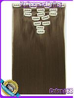 Комплект накладных прядей из 7-ми штук, наращивание волос, накладные пряди, прямые, длина - 55 см, цвет - №68