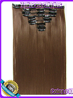 Комплект накладных прядей из 7-ми штук, наращивание волос, накладные пряди, прямые, длина - 55 см, цвет - №10