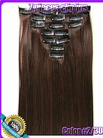 Комплект накладных прядей из 7-ми штук, наращивание волос, накладные пряди, прямые, длина - 55 см, цвет -№2\30