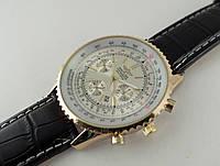 Мужские часы BREITLING кварцевые, серебристый циферблат, корпус золотистый