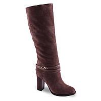Замшевые сапоги Dina Fabiani (зимние, на удобном каблуке, на замке, модная пряжка, красивый цвет, теплые)