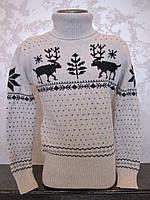 Белый свитер для девочек с Оленями