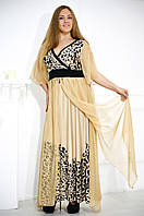 Длинное вечернее платье больших размеров с леопардовым принтом