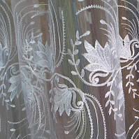 Тюль, гардина, органза белая с вышивкой