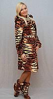 Халат короткий с тигровым принтом коричневый