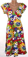 Женское летнее платье с V-образным вырезом и завышенной талией 48-52