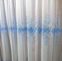 Ткань для тюли шифон с голубой вышивкой