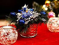 Корзинка декоративная украшенная  серебро с синим 0501SB