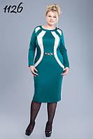 ODDI 1126 : Трикотажное платье, приталенного силуэта с контрастными вставками (50-56 размеры)